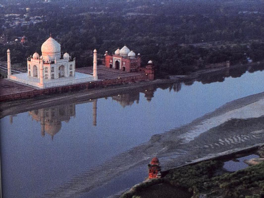 View of the Taj Mahal and Mosque - looking west along the Yamuna River