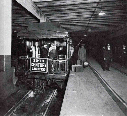 "1930s - Rear of the ""20th Century"" train at Grand Central Station, New York. Courtesy of Larry Karresch."