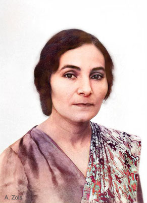 Mehera Irani - 1951 passport photo.   Image colourized by Anthony Zois.