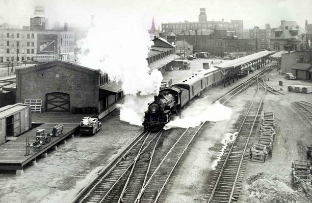 Train pulling out of the railroad station in Rochester