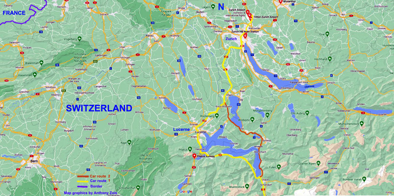 Map B : Zurich to Locarno car routes.