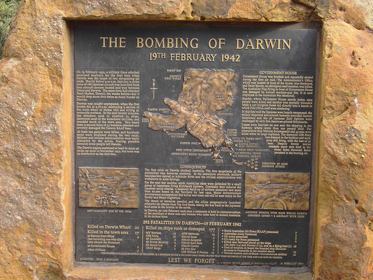 """Bombing of Darwin"" plaque in 1942 by the Japanese during WW2"