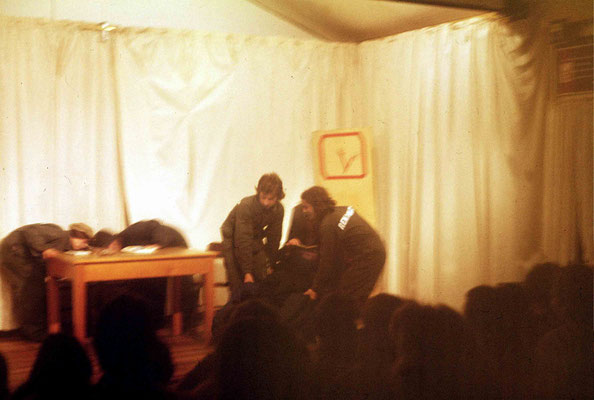"""The Removalists"" play - Tony Zois & George McGahey lifting Chris"