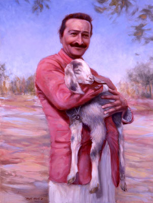"2001 -#1 ; Baba Holding Goat - Oil - 40""x30""  - Courtesy of Bobby Currivan"