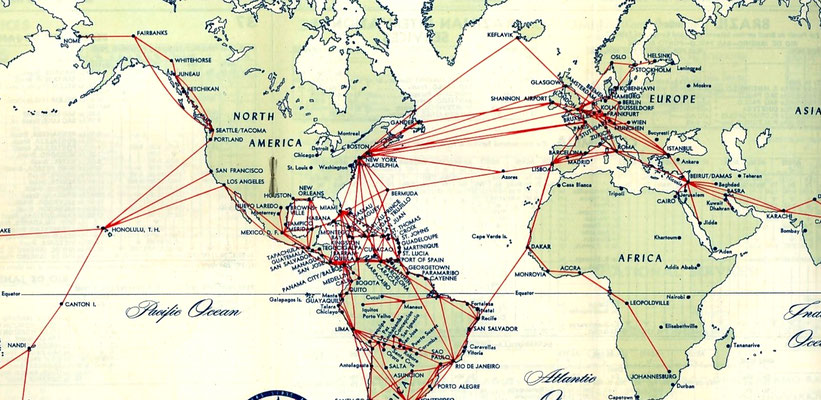 CLOSE UP OF THE 1952 PAN AM FLIGHT ROUTES