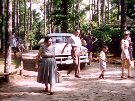 1956 ; Meher Center, Myrtle Beach, SC. ; The Karrasch family walking on the Center and Annarosa'a mother Theresa DeBlasio (left). The images were captured by Anthony Zois from a film by Sufism Reoriented.