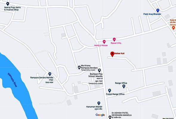 Mandla's suburb 'Deodhara' showing where Meher Kuti is located.