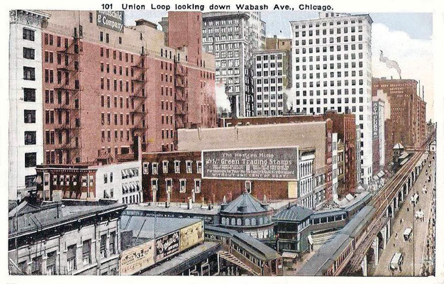 Postcard ; CHICAGO - WABASH AVE - AERIAL - ELEVATED UNION LOOP - NOTE S AND H GREEN STAMP SIGN - 1924