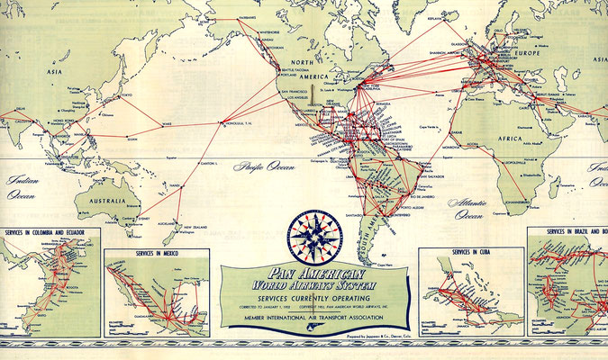 1952 PAN AM FLIGHT ROUTES AROUND THE WORLD