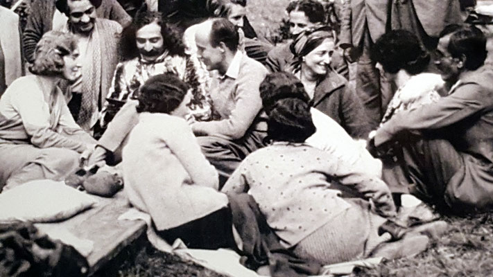 1932 - East Challacombe, Devon, England. Margaret is seated in the middle wearing a head-scarf.