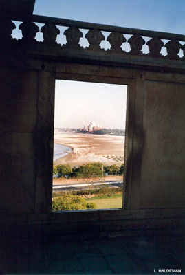 Photo taken by Lyn Haldeman 1988 - View of the Taj Mahal from the Agra Fort