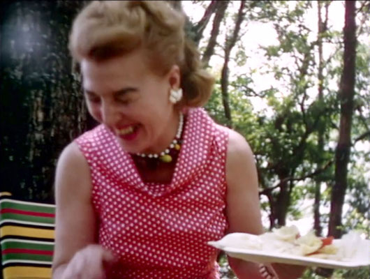 1956 ; Marion having lunch at the Meher Center during Meher Baba's visit. The images were captured by Anthony Zois from a film by Sufism Reoriented of this visit.