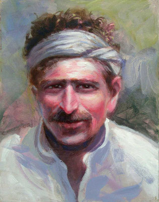 "2000 -#4 ; At Upasni's - Oil - 14""x11"""