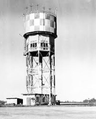 Control and water towers at Darwin Airport during the 1950s
