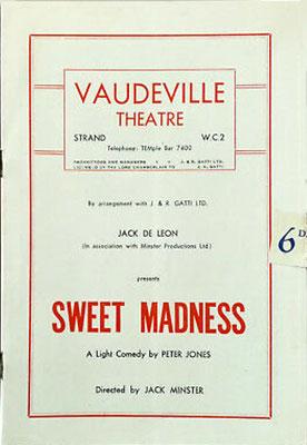 Sweet Madness by Peter Jones - Vaudeville Theatre Programme