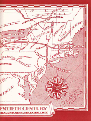 "Maps of the New York City to Chicago train journey, Inside cover of ""The Greatest Train in the World"" by L.Beebe. Courtesy of Larry Karrasch"