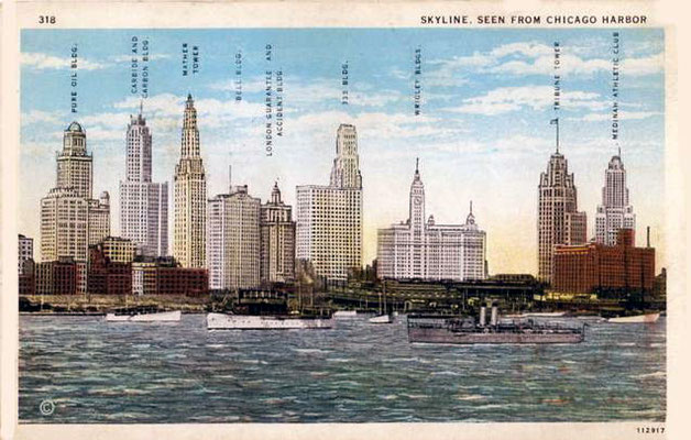 Postcard ; Chicago skyline from Lake buildings - named-1930s