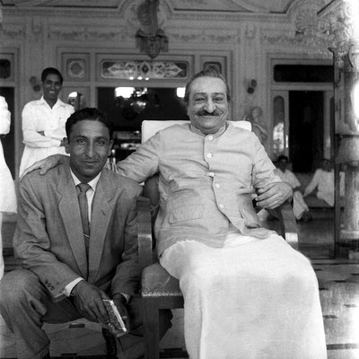 Guruprasad, Poona, India - 2nd April 1959 ; Meher Baba with a member of the Indian cricket team
