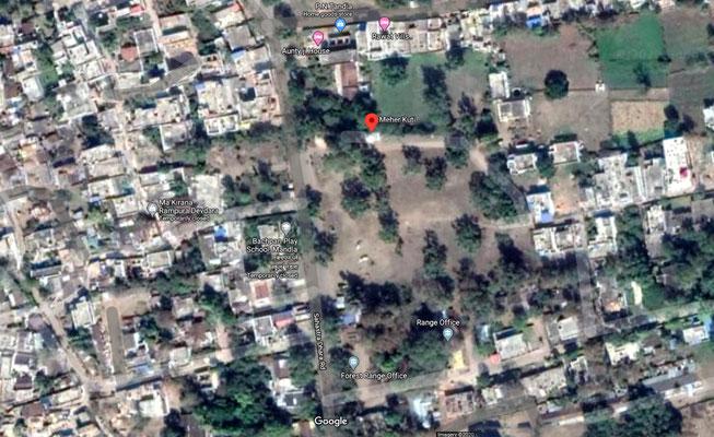 Mandla's suburb 'Deodhara' showing where Meher Kuti is located. Satellite image.