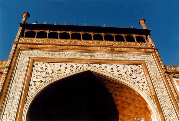 Photo taken by Anthony Zois 1988 - Gateway of the Taj Mahal with the 89th Chapter of the Quran