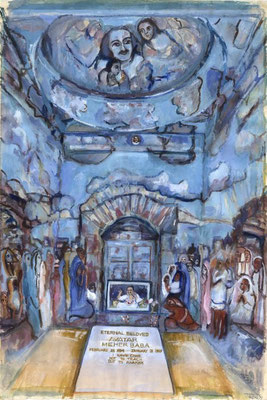 Painting of the interior of the tomb in the late 20th century by Laurie Blum