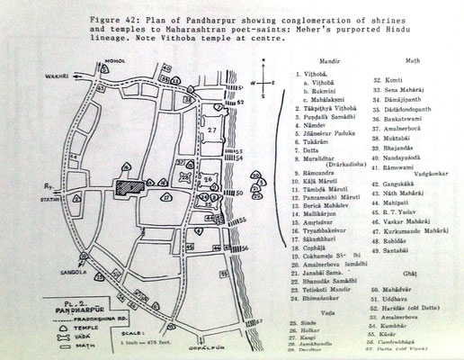 Pandharpur town pilgrim's journey map. Courtesy of Dr. Ray Kerkove.