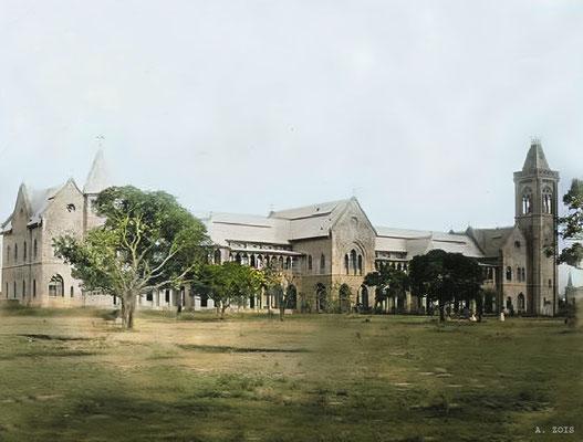 Sassoon Hospital, Poona. Image colourized by Anthony Zois.