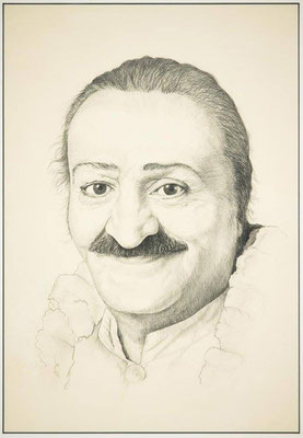Pencil drawing of Meher Baba, 1954