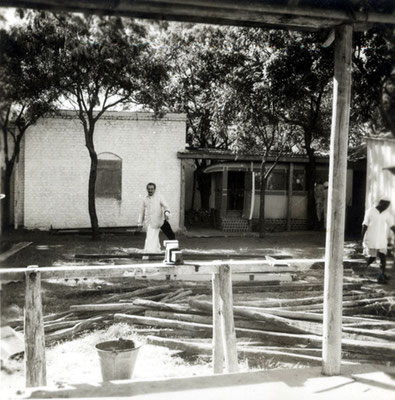 Baba inspecting completion of Manonash Cabin at Meherazad, India on 10 December, 1951. Courtesy of the Jessawala Collection - AMB Archives, Meherabad, India.
