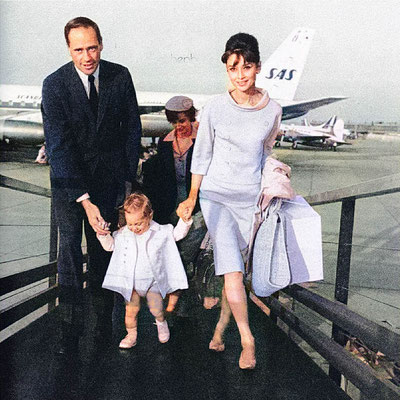 Audrey Hepburn with husband Mel Ferrer & their son. Image colourized by Anthony Zois.