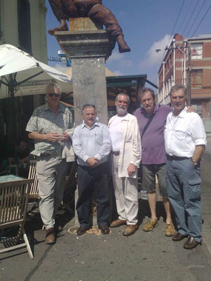 Sim Symon ( left ) Tony Zois, Richard Lockwood, Yvan Duerinckx & Michael LePage at Adrian's statue in Fitzroy.