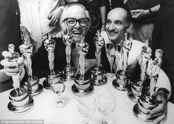 Sir Richard Attenborough & Ben Kinsley with all the Acadamy Awards awarded