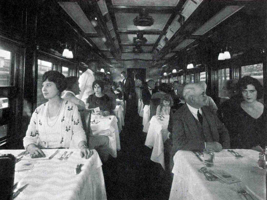 "1930s - Interior of the ""20th Century"" train's dining carriage. Courtesy of Larry Karresch."