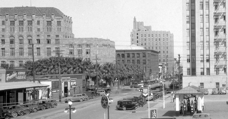 First Avenue looking north past the Maricopa County Courthouse- Phoenix City Hall, Fleming Building, and Phoenix Title and Trust Building