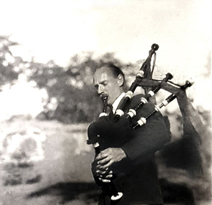 1933 - Charles playing the bagpipes in Connecticut ( cropped image ). Photo Courtesy of Anne Ross. Image edited by Anthony Zois