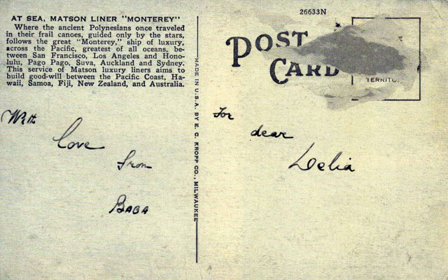"Postcard ( back ) received by Delia De Leon in London from Meher Baba. Courtesy of Delia's book ""The Ocean Of Love""."