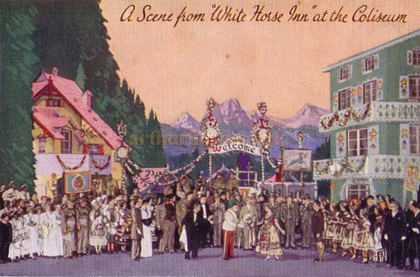 A postcard depicting a scene from 'White Horse Inn' at the London Coliseum in 1931