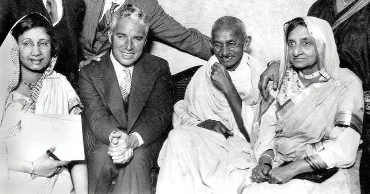 Gandhi with Charlie Chaplin
