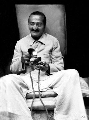 6th Nov. Meher Baba playing the bells at Saint Gadge Maharaj's Dharamshala, Pandharpur