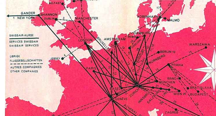 Swissair flight routes in Central Europe
