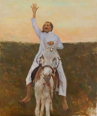 Baba riding a donkey