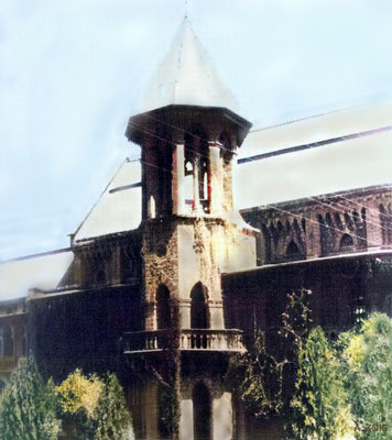 St. Vincent's High School, Poona. Image colourized by Anthony Zois.
