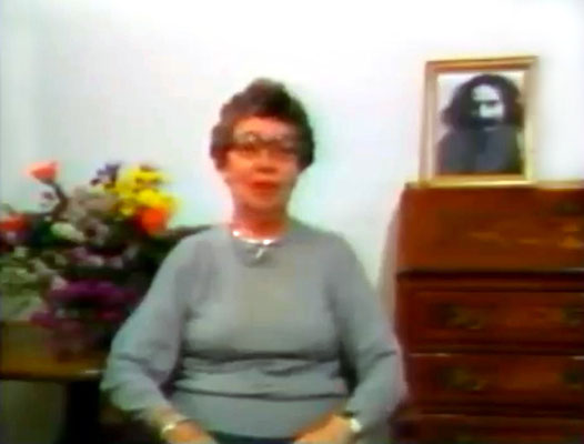"""Still of Andree  taken from the video """"Meher Baba in France"""" - 1989"""