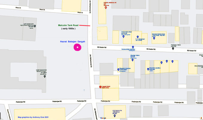 Hazrat Babajan's Dargah location - street image. Map graphics by Anthony Zois.