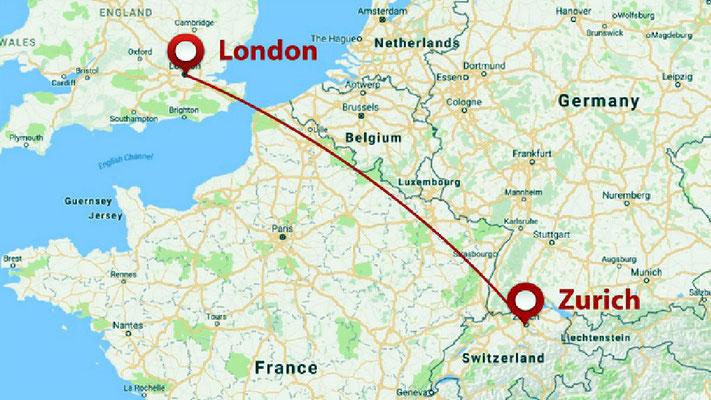 Swissair flight path from London to Zurich, Switzerland