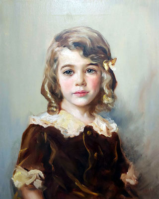Portrait of a blond young girl - oil painting - 1933
