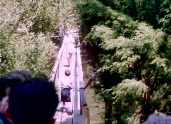 1956 ; Meher Center, Myrtle Beach, SC. ;  The Karrasch family walking on the Center bridge. The images were captured by Anthony Zois from a film by Sufism Reoriented.