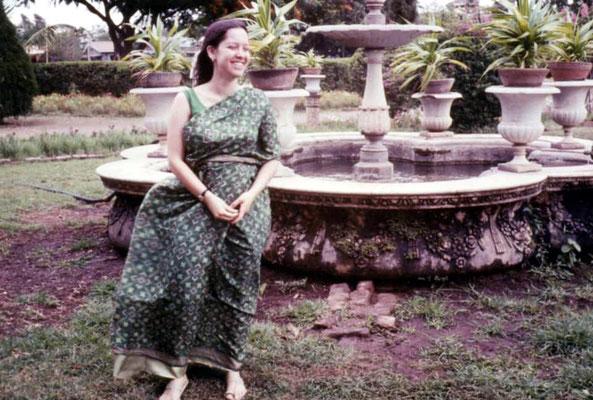 Alice Klein dressed in a sari at Gurprasad 1969 India.