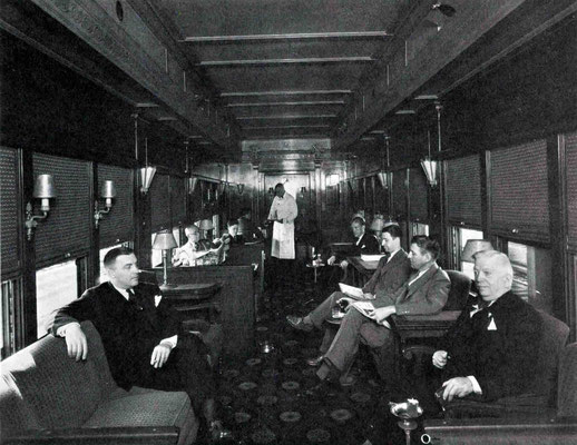"1930s - Interior of the ""20th Century"" train's lounge wagon . Courtesy of Larry Karresch."