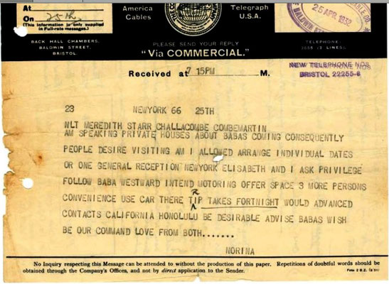 Norina's telegram to Meredith